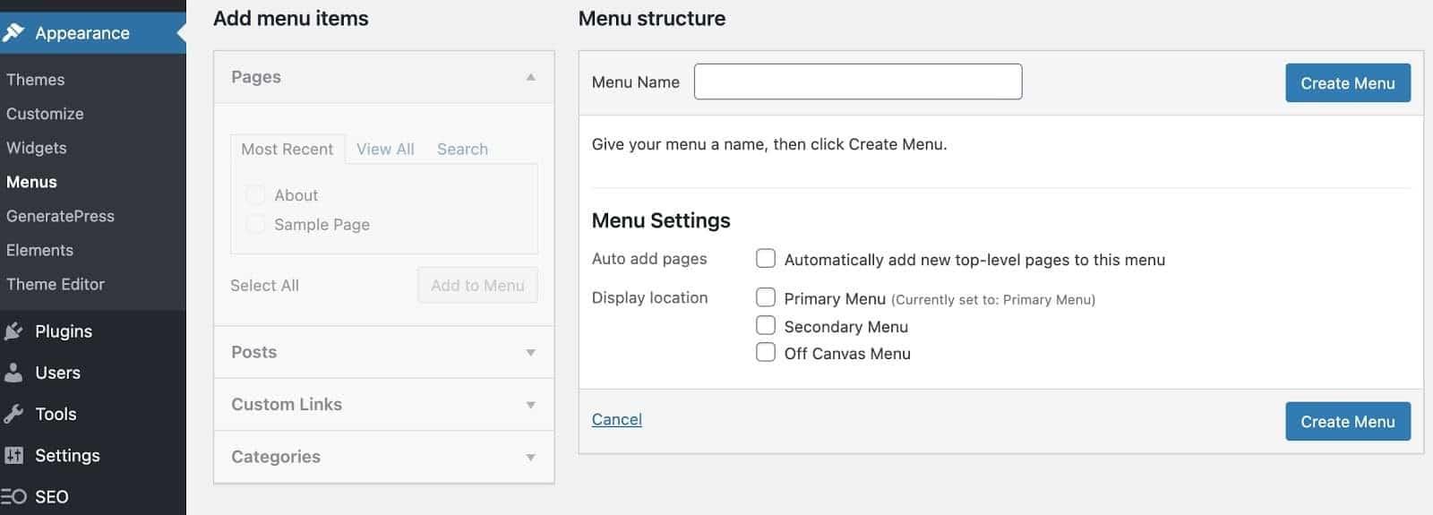 create a custom menu
